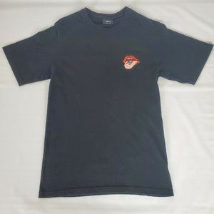 Retro STUSSY Mouth Logo Embroidered T-Shirt S